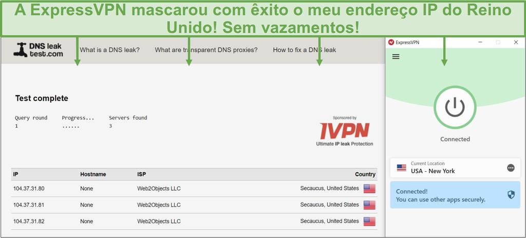 Screenshot do teste de fuga de DNS enquanto está ligado a um servidor ExpressVPN.