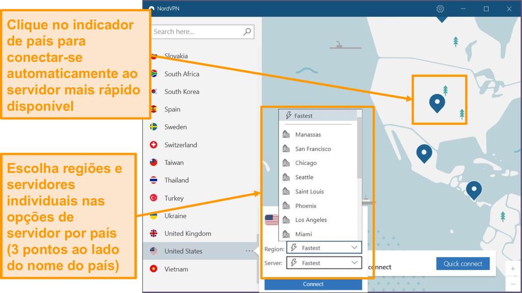 Screenshot da seleção do servidor NordVPN.