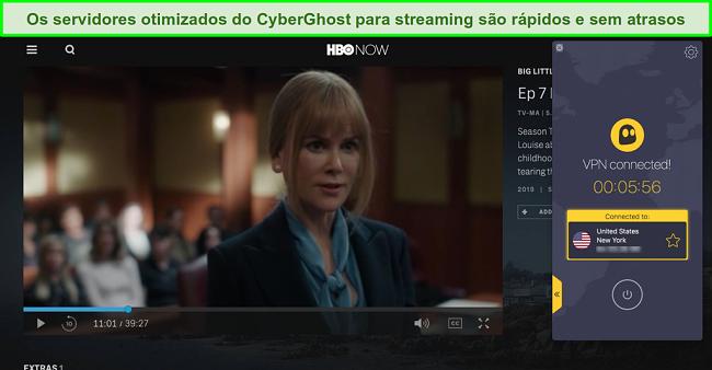 Screenshot da HBO Now a jogar Big Little Lies com CyberGhost ligado a um servidor dos EUA