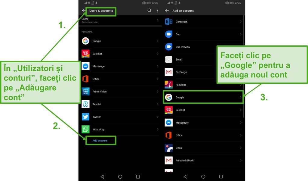 Creați un nou cont Google pe dispozitivul Android, făcând clic pe