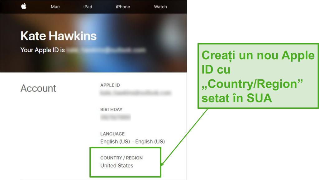 Creează un nou ID Apple și schimbă țara în SUA.