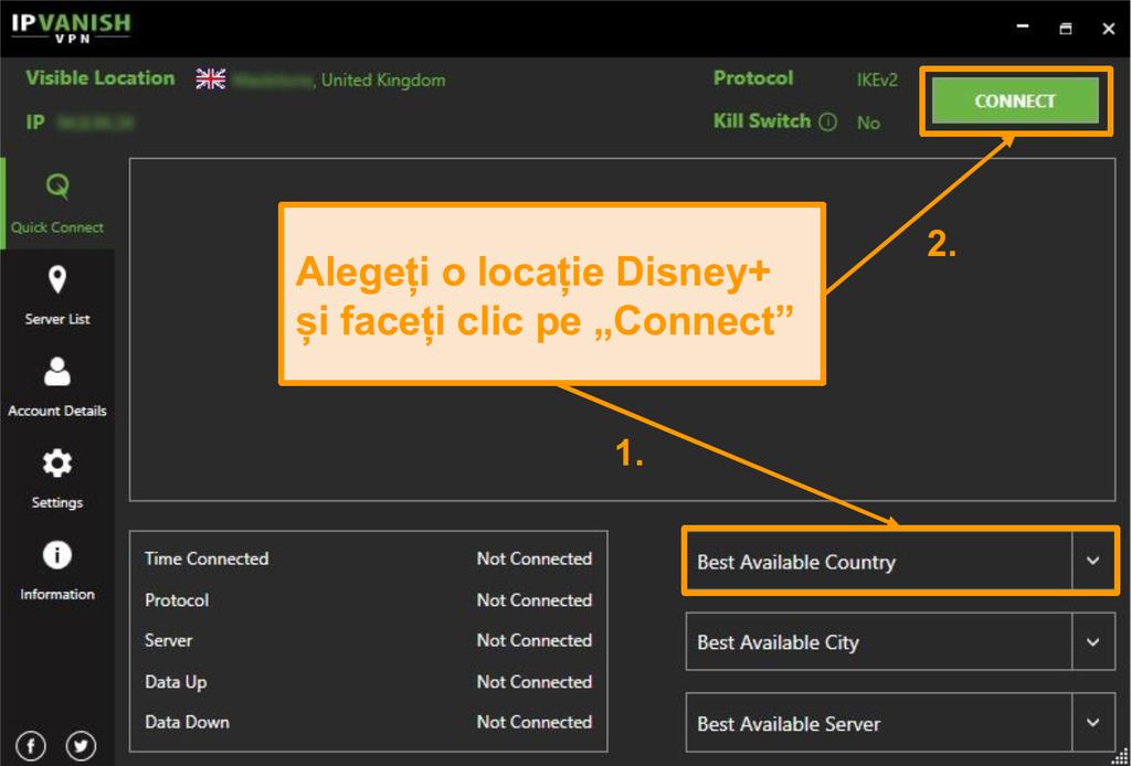 Pur și simplu alegeți o țară Disney+ și faceți clic pe conectați-vă cu IPVanish.