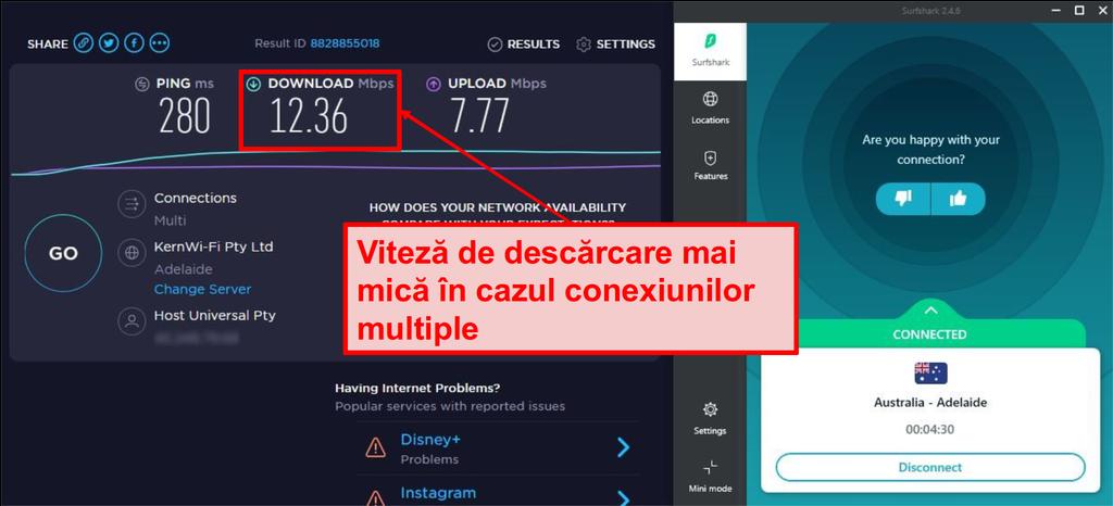 Vitezele conexiunii Surfshark încetinesc atunci când se redau în flux pe mai multe dispozitive.
