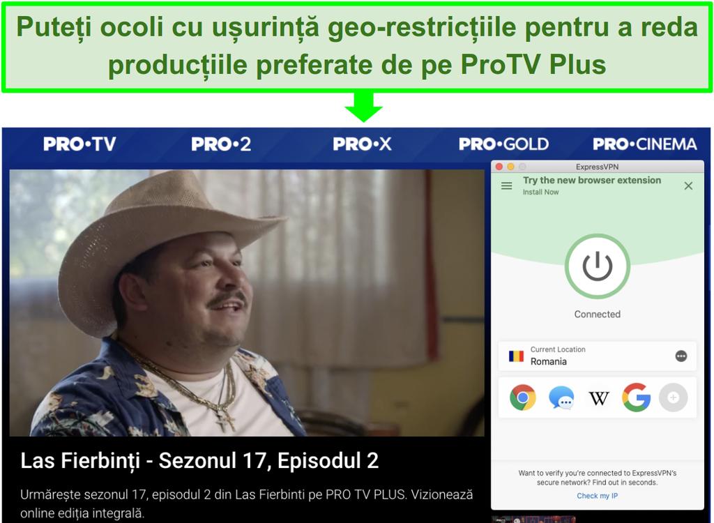 Screenshot of an ExpressVPN server streaming Las Fierbinti on ProTV Plus