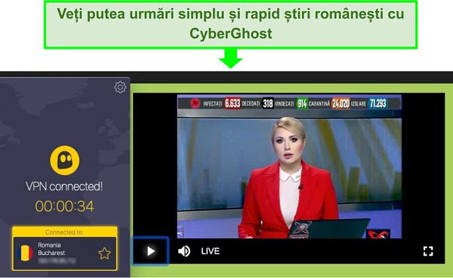 Captura de ecran a unui server CyberGhost care transmite Realitatea TV