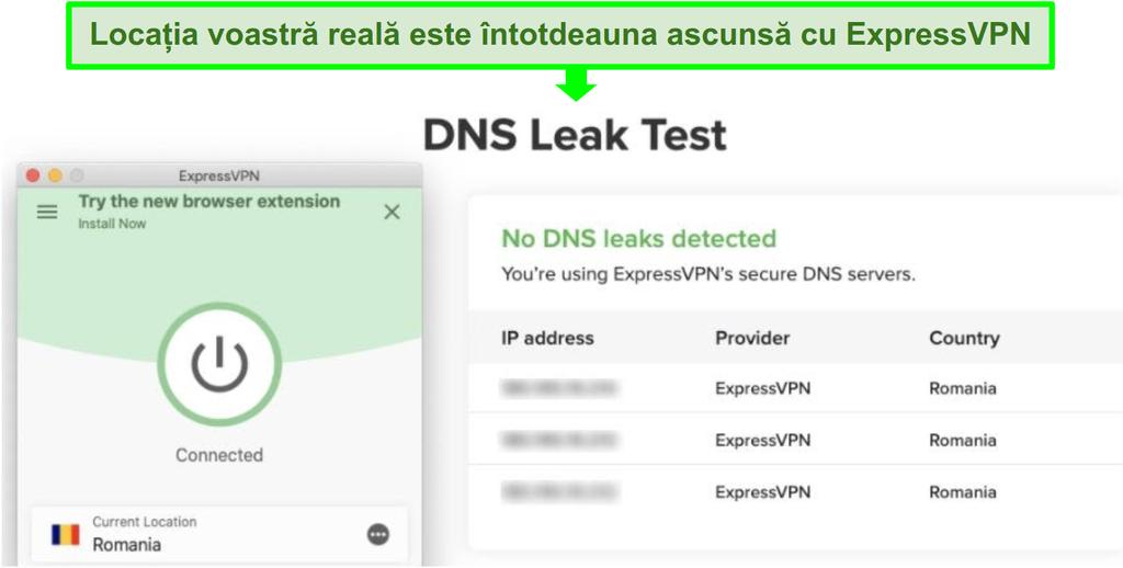 Screenshot care arată serverul român ExpressVPN a trecut un test de scurgere DNS