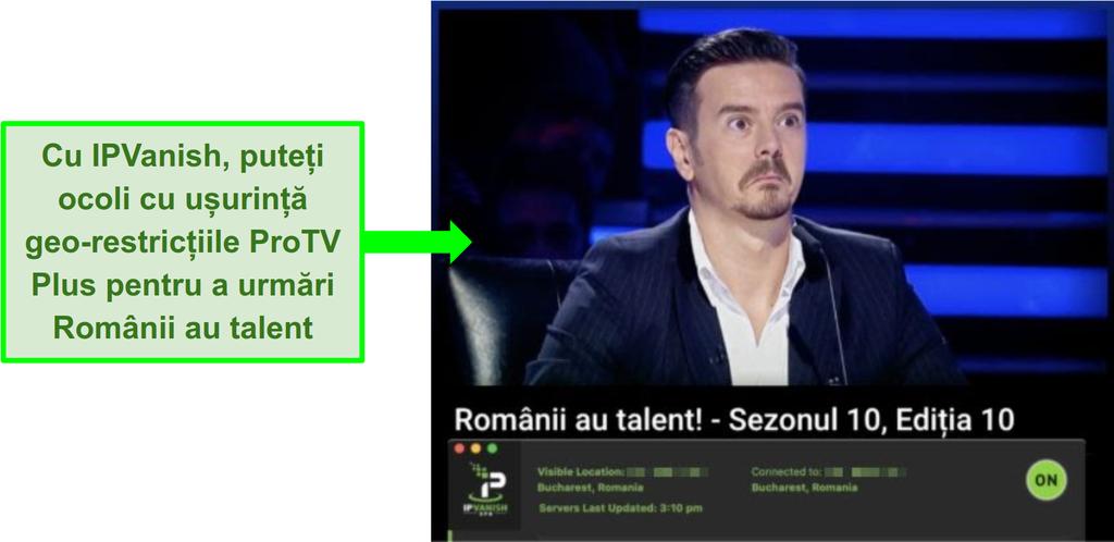 Captura de ecran a emisiunii România Talent Got pe Pro TV Plus cu IPVanish conectat
