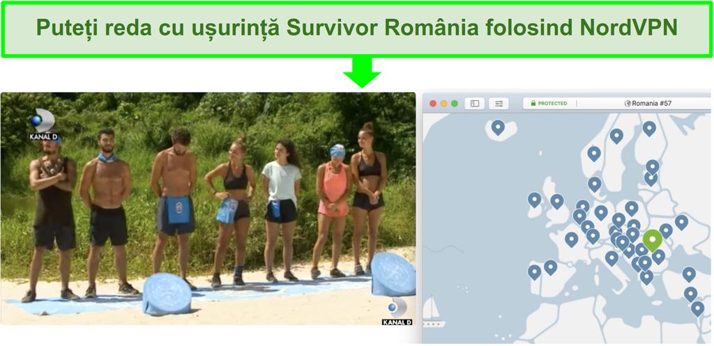 Screenshot de NordVPN streaming Survivor România pe Kanal D