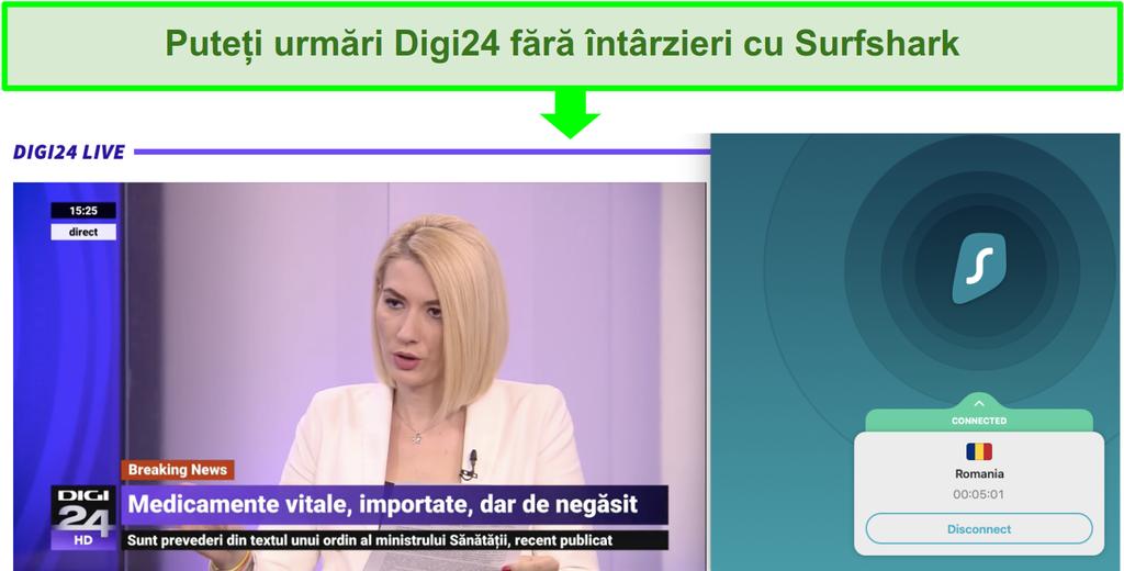 Captura de ecran a unui server Surfshark care transmite știri românești pe Digi24