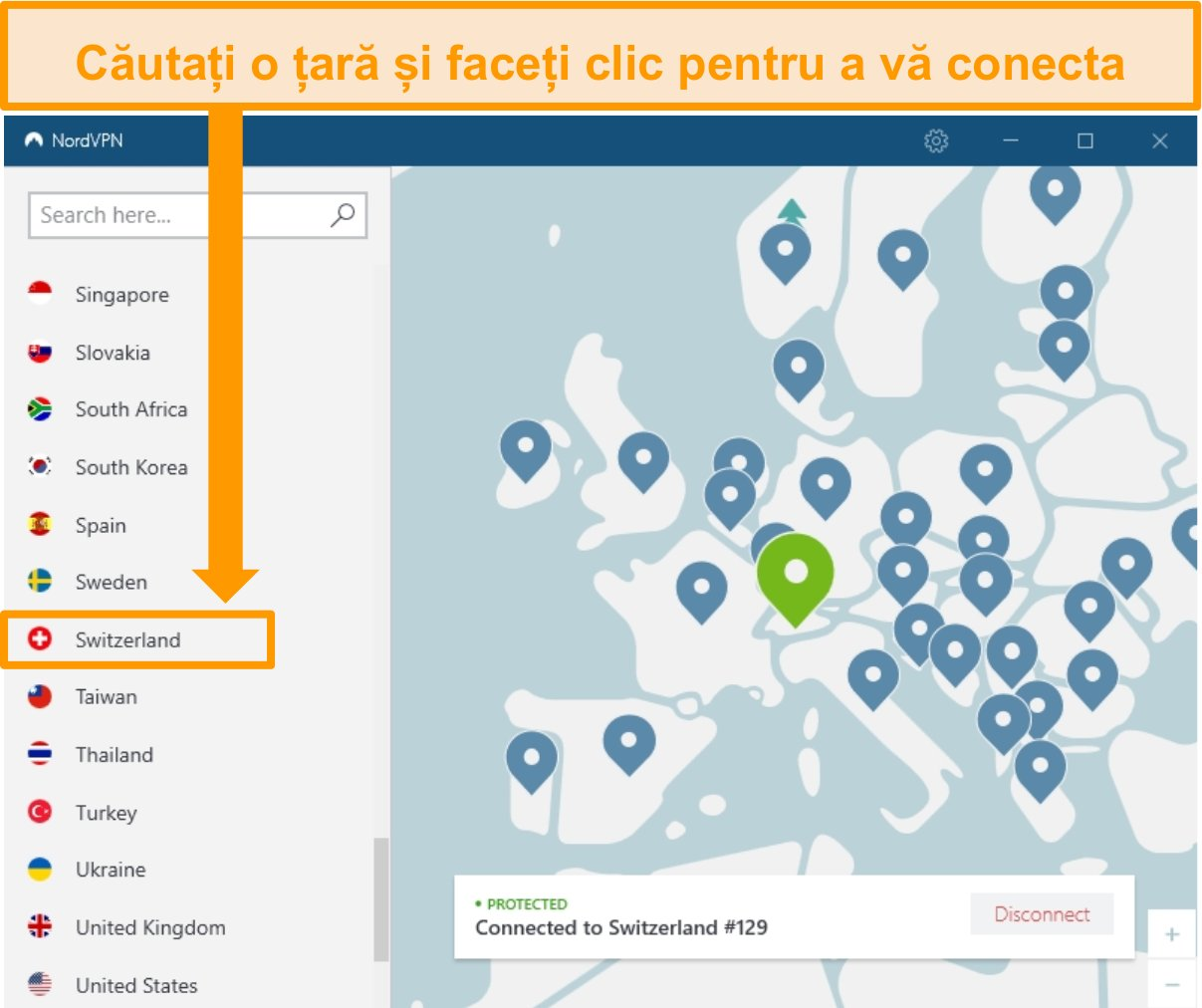 Captura de ecran a aplicației Windows NordVPN conectată la un server Elveția
