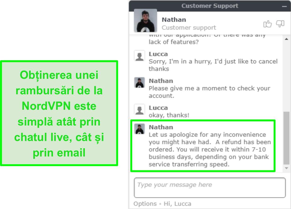 Screenshot de aprobare de rambursare NordVPN de succes prin chat live