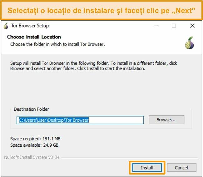 Captura de ecran a instalării browser-ului Tor pe Windows 10