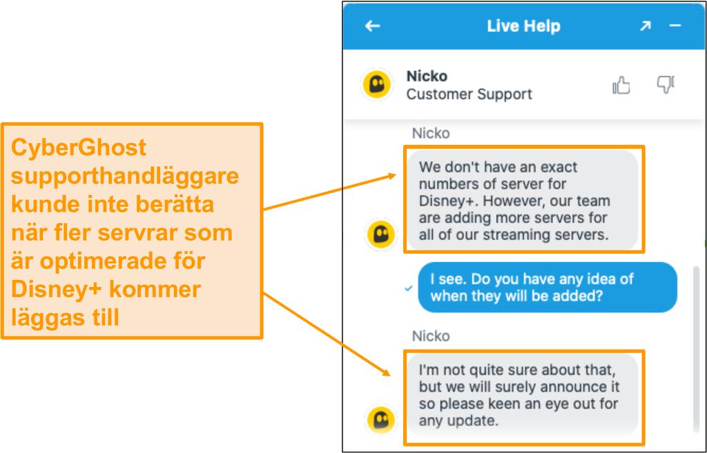 Chatt med CyberGhost kundsupport agent.