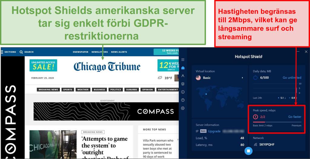 Skärmbild av hotspot shield-friversion som avblockerar innehåll.