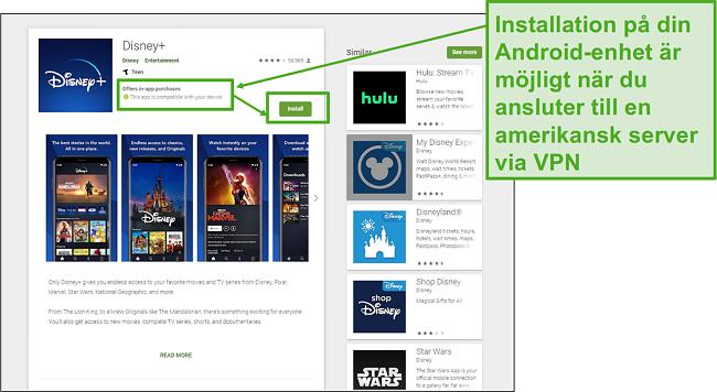 När du ansluter till en amerikansk server kan du enkelt installera Disney+ på din Android.