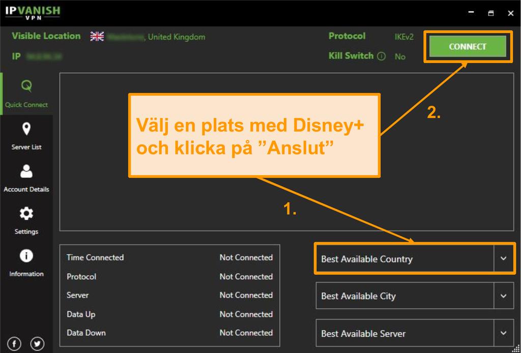 Välj helt enkelt ett Disney+ land och klicka på ansluten med IPVanish.