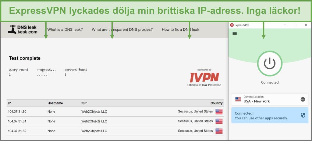Skärmbild av DNS-läckagetest när det är anslutet till en ExpressVPN-server.