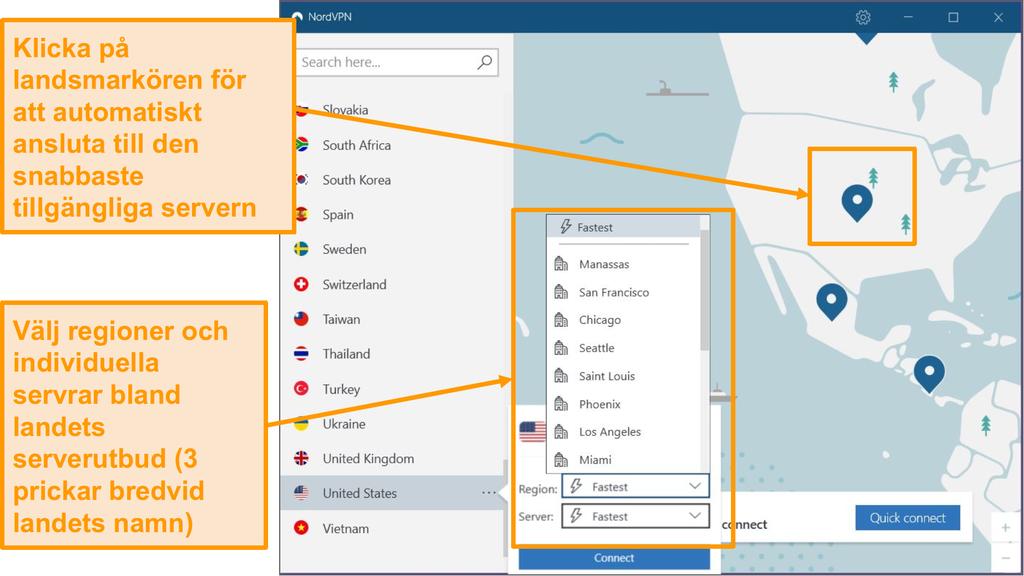 Skärmbild av NordVPN-serverval.