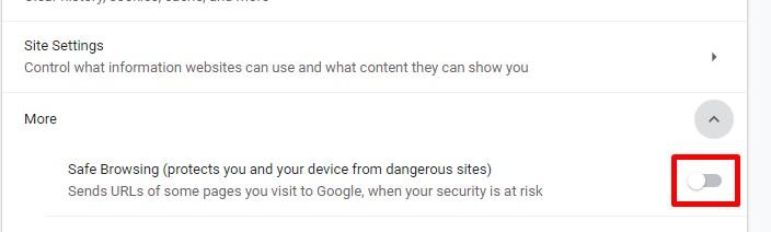 Google Chrome Safe Browsing turned off