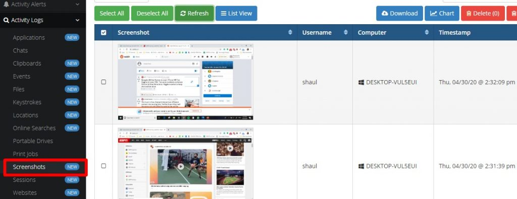 Screenshot logs SentryPC