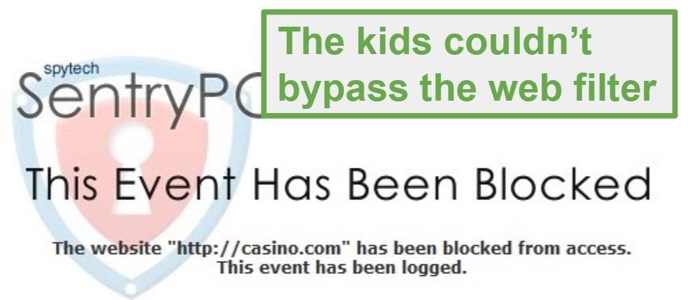 SentryPC blocked page