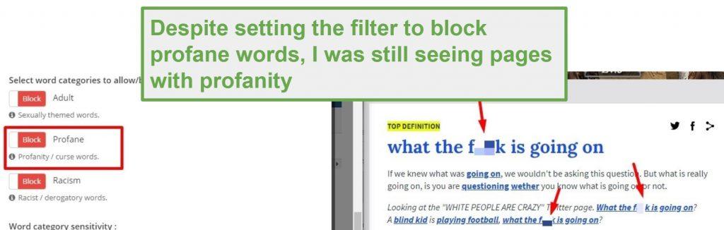 SentryPC profanity filter