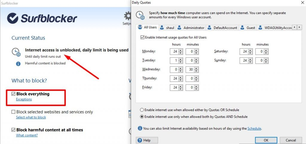 Setting Daily Limit with Surfblocker