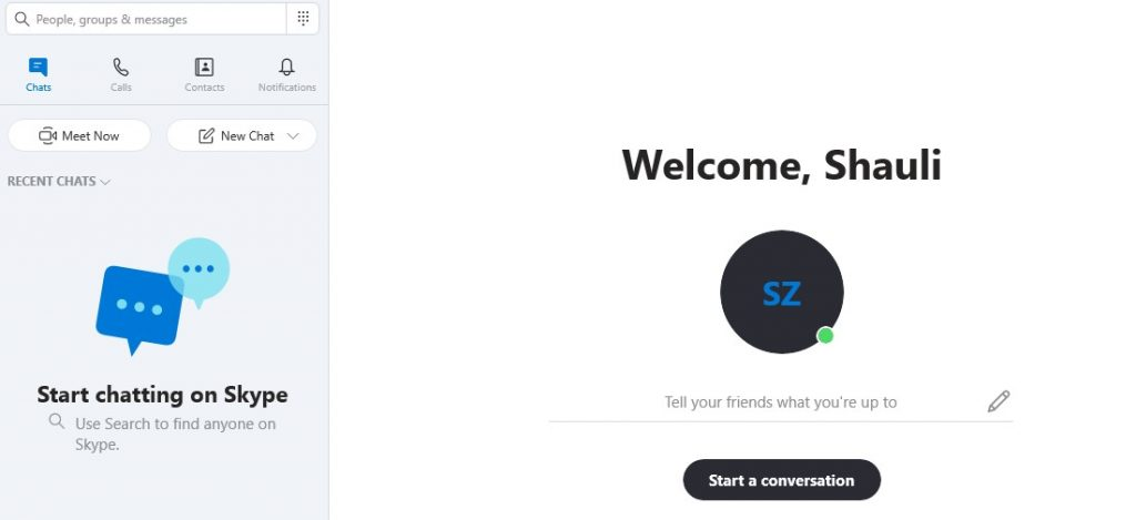 Skype welcome screen
