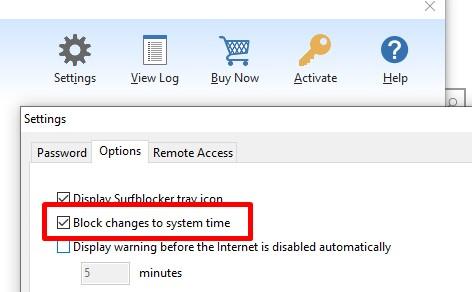 Surfblocker - block changes to clock