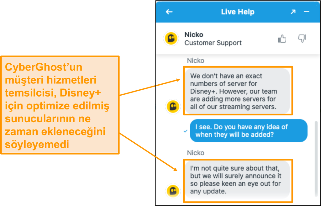 CyberGhost müşteri destek acentesi ile canlı sohbet.