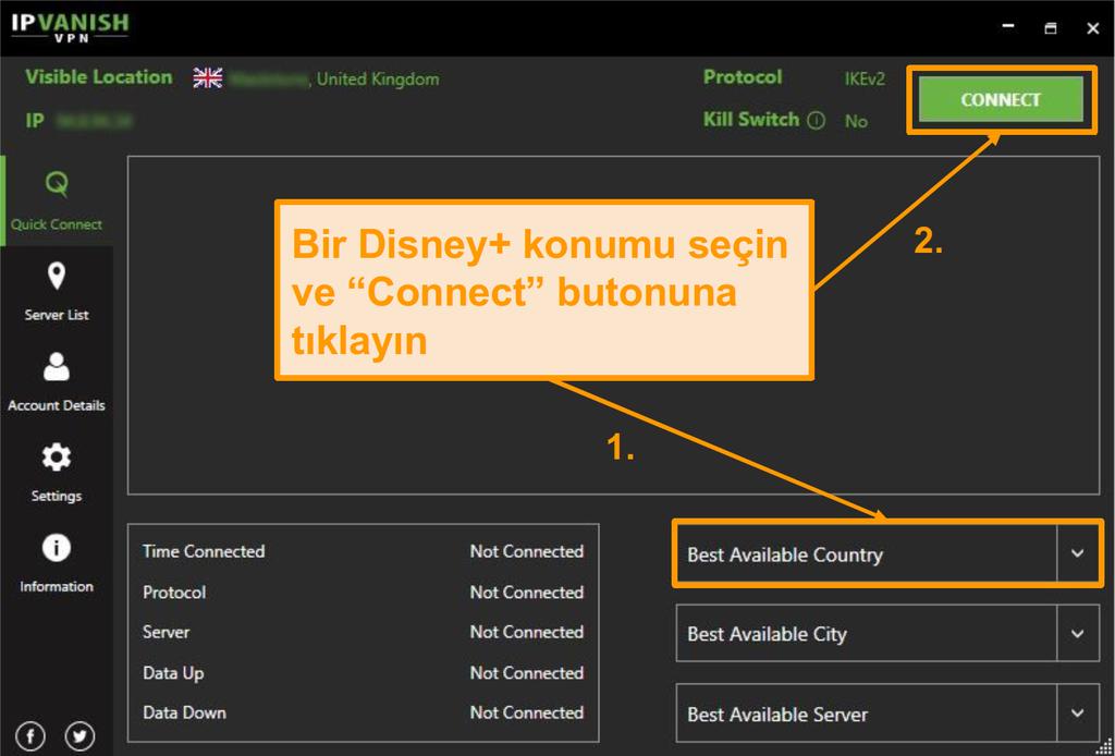 Bir Disney+ ülkesi seçmeniz ve IPVanish ile bağlantı ya da bağlantı ya da bağlantı ya tıklayın.