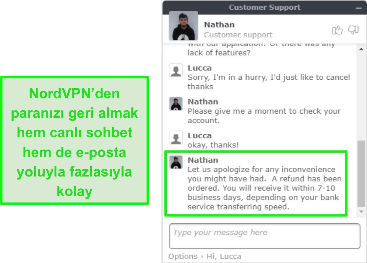 Canlı sohbet yoluyla başarılı NordVPN geri ödeme onayının ekran görüntüsü