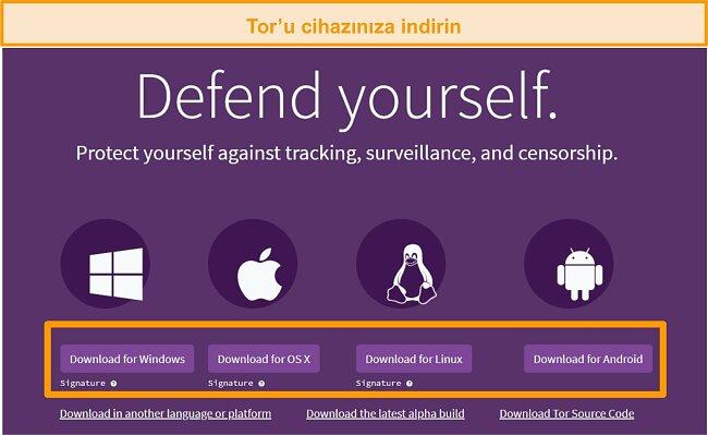Tor projesi indirme sayfasına genel bakış ekran görüntüsü