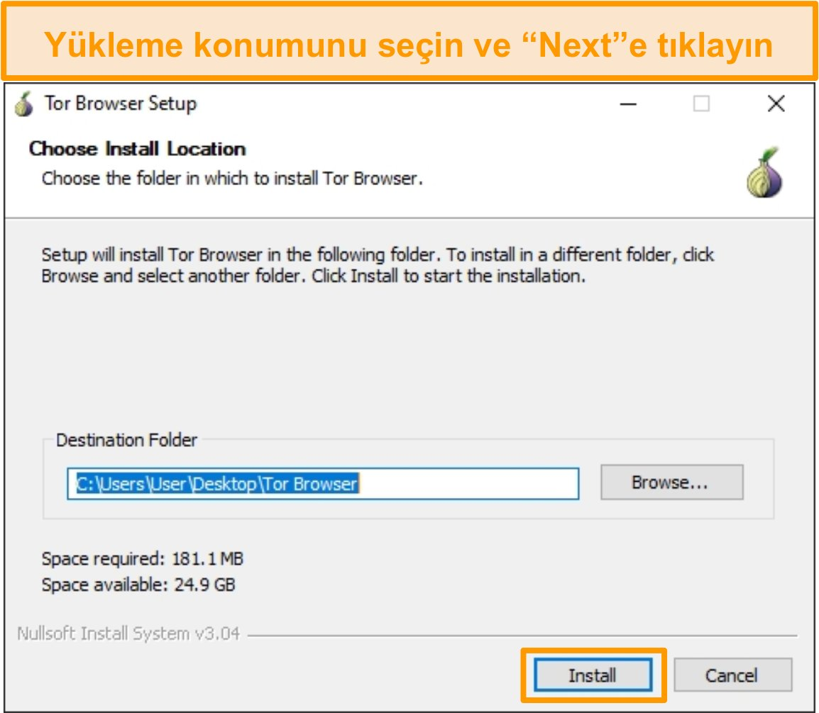 Windows 10'da Tor tarayıcı kurulumunun ekran görüntüsü