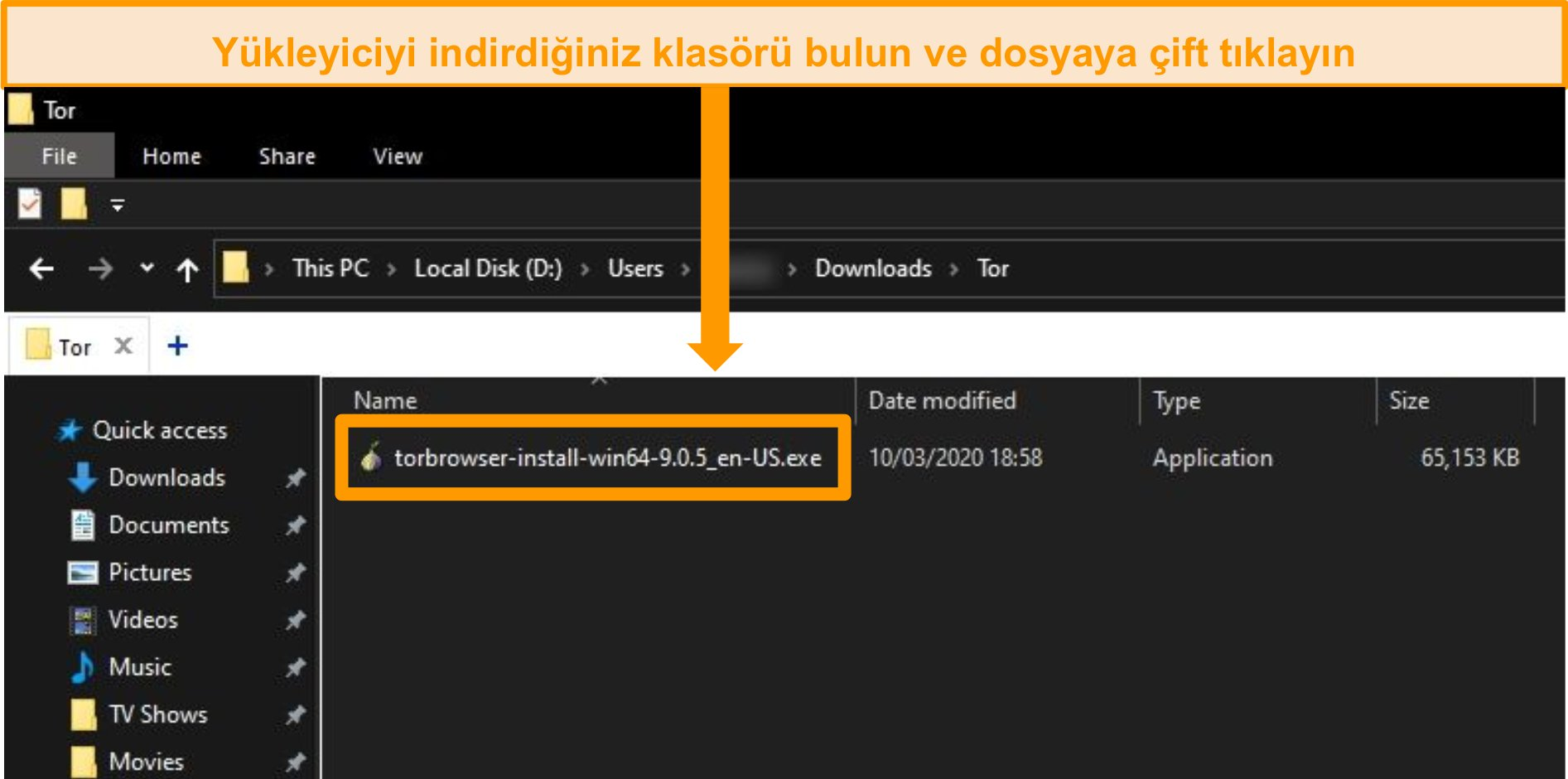 Windows 10'daki indirme klasöründe Tor yükleyicisinin ekran görüntüsü
