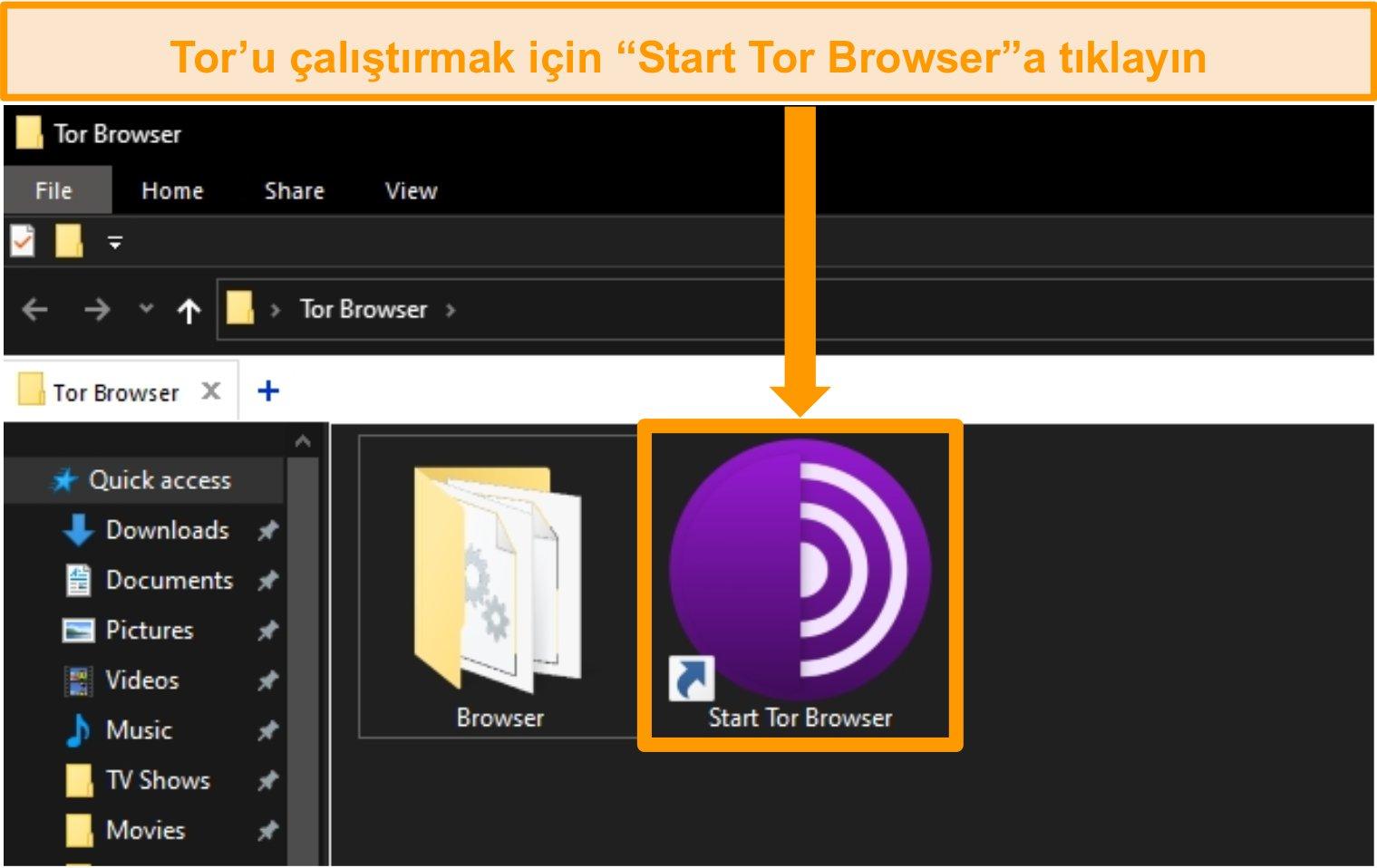 Windows'ta Tor tarayıcı kurulum kısayolunun ekran görüntüsü