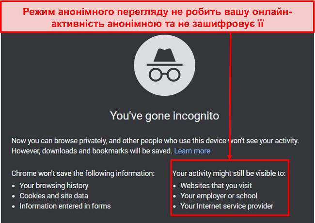 Знімок екрана повідомлень в режимі анонімного перегляду.