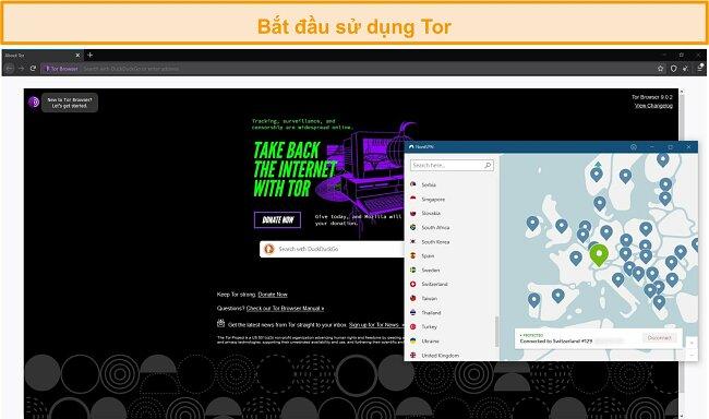 Ảnh chụp màn hình của trình duyệt Tor được mở bằng kết nối Tor qua VPN thông qua NordVPN