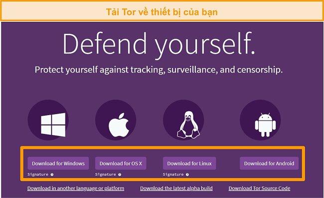 Ảnh chụp màn hình tổng quan trang tải xuống dự án Tor