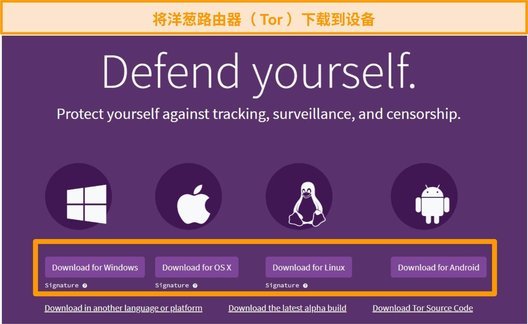 Tor项目下载页面概述的屏幕快照