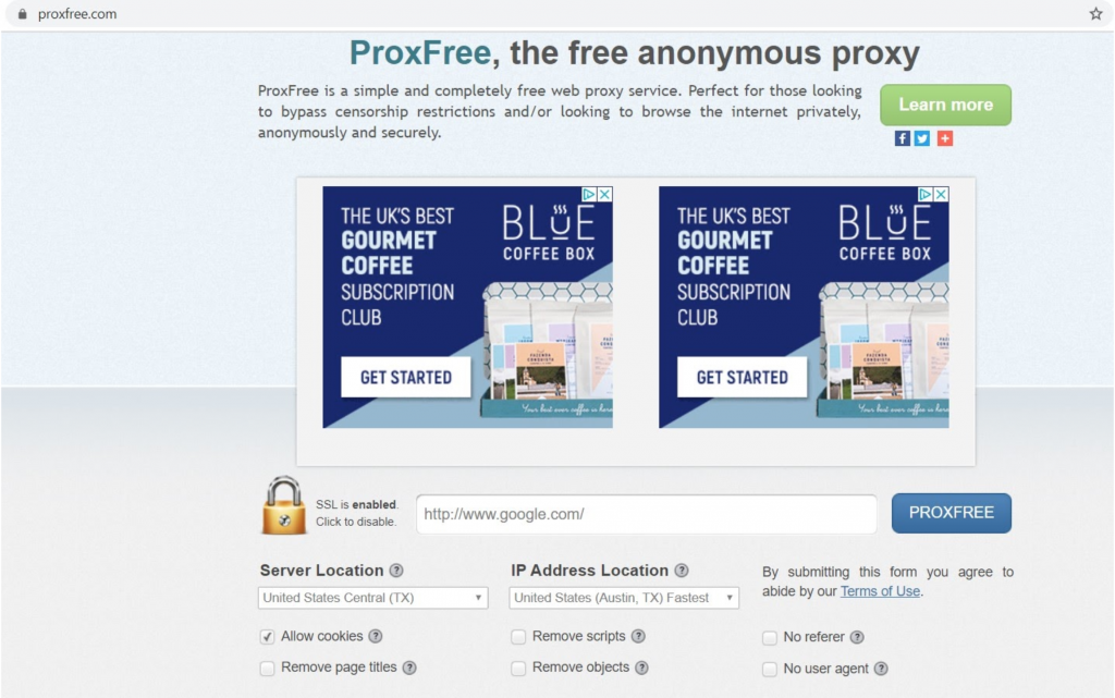 Screenshot of ProxFree landing page