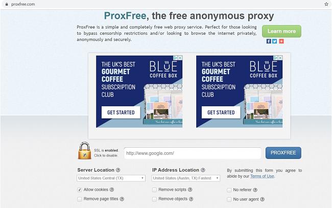Skärmdump av ProxFree målsida
