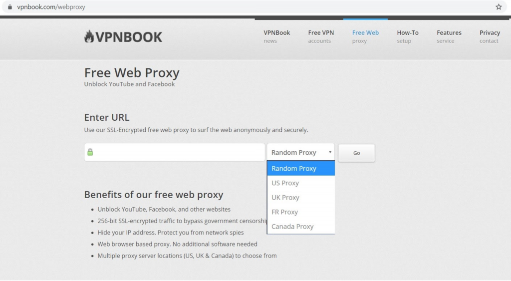 Screenshot of VPNBook landing page