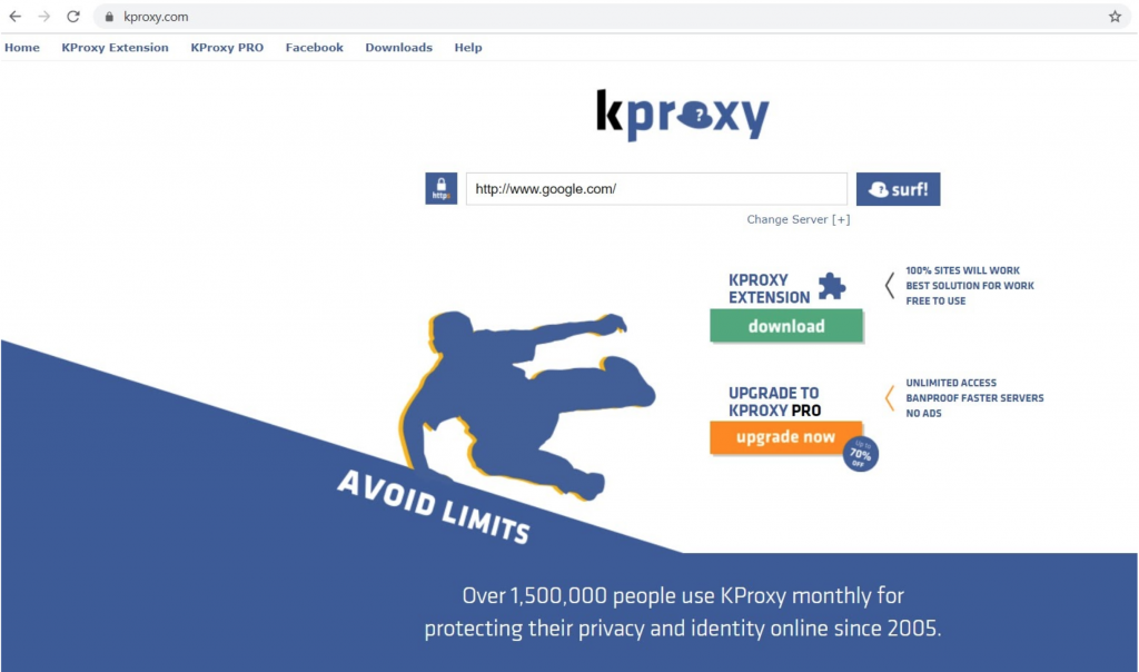 Screenshot of KProxy landing page