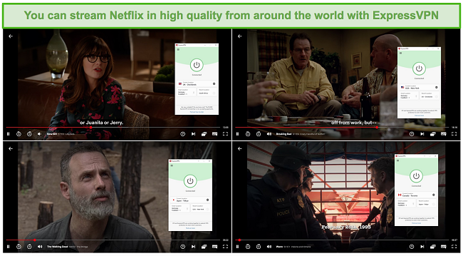 Screenshot of ExpressVPN unblocking and streaming from the UK (New Girl), Netflix US (Breaking Bad), Japan (The Walking Dead), and Canada (Waco).