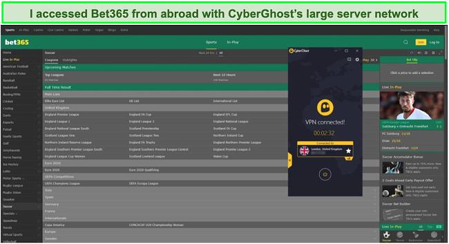 Screenshot of a CyberGhost UK server unblocking Bet365.com