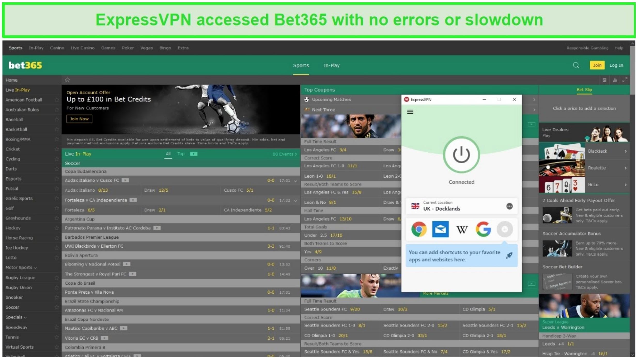 Screenshot of an ExpressVPN UK server unblocking Bet365.com