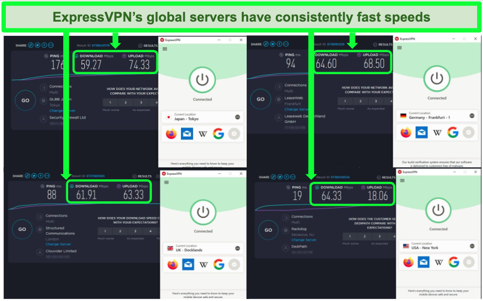 Screenshots of results from Speedtest.net while connected to ExpressVPN servers in Japan, Germany, UK, and USA