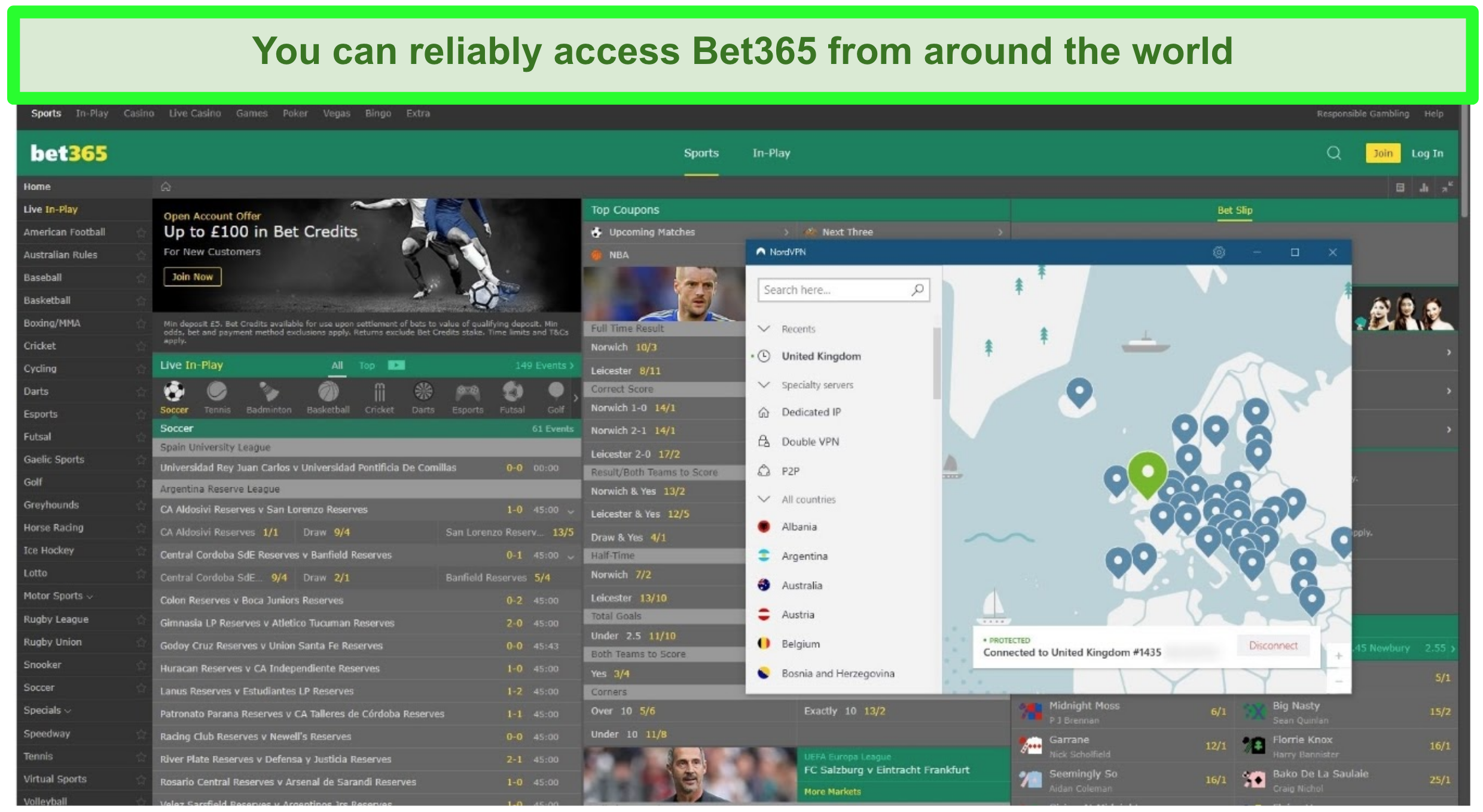 Screenshot of NordVPN UK server unblocking Bet365.com