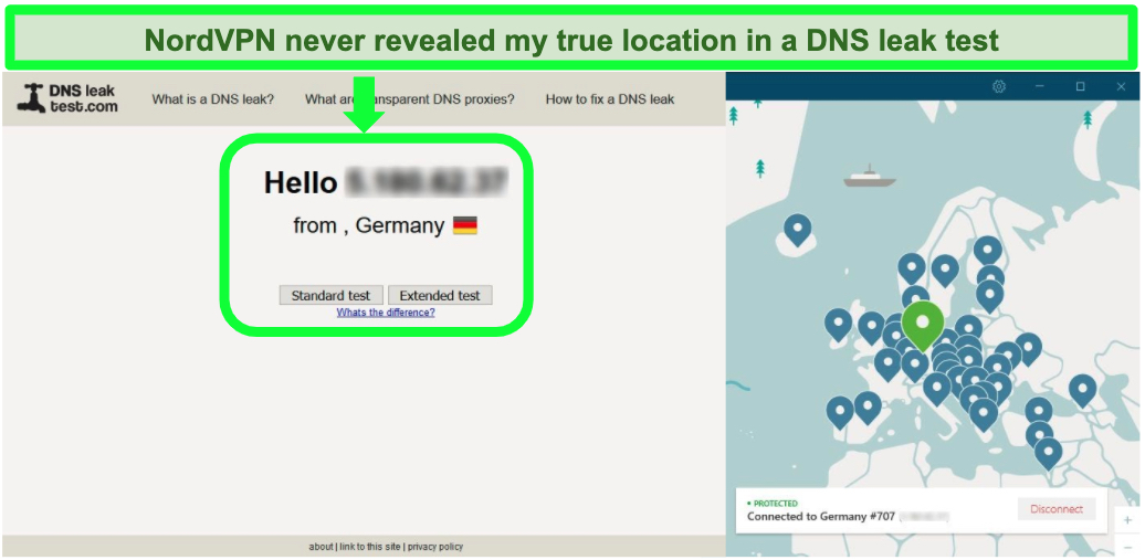 Screenshot of nordvpn successfully passing DNS leak test while connected to a German server.